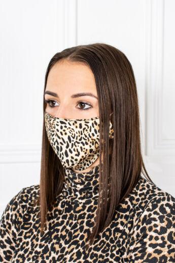 Leopárd Mintás 2 Rétegű Trendi Textil Szájmaszk