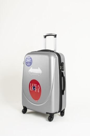 Szürke Kemény Közepes Méretű Bőrönd