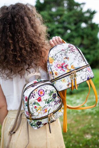 Virágos női műbőr hátizsák (Mustársárga)