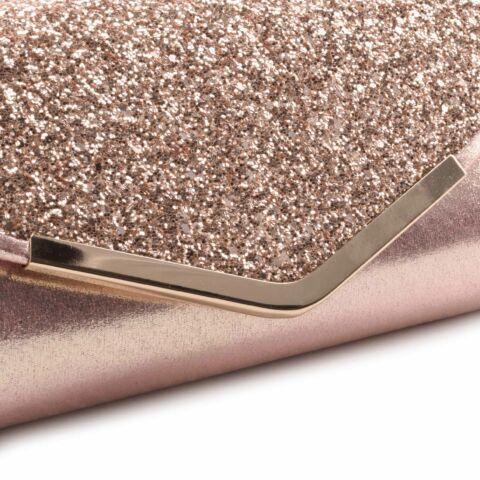 Rózsaarany női csillámos alkalmi táska