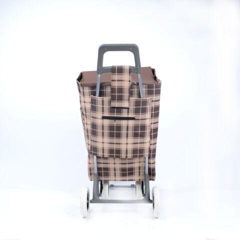 Barna/Drapp Kockás Bevásárlókocsi