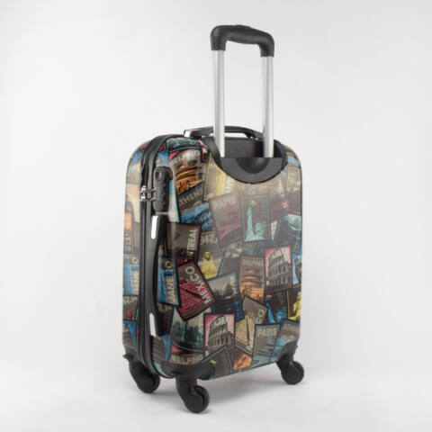 BESTY Fekete Képeslap Mintás Wizzair, Ryanair Méretű KabinBőrönd(53*36*20cm)