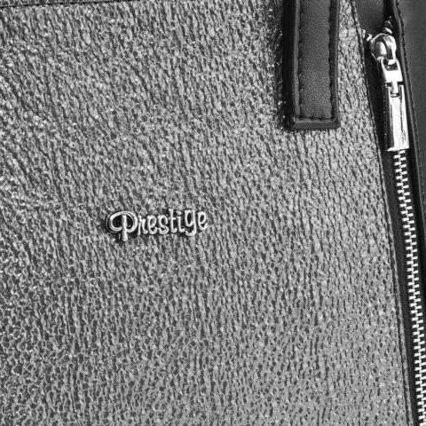Prestige Fekete-Ezüst Lakk-Velúr Női Kézitáska