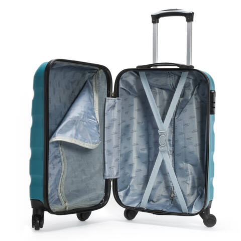 Leonardo Da Vinci Türkiz Színű Hullámnyomott ABS Bőrönd Szett