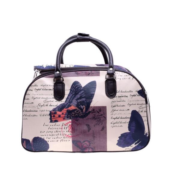 Női Műbőr Nagy Kék Pillangó Mintás Utazótáska