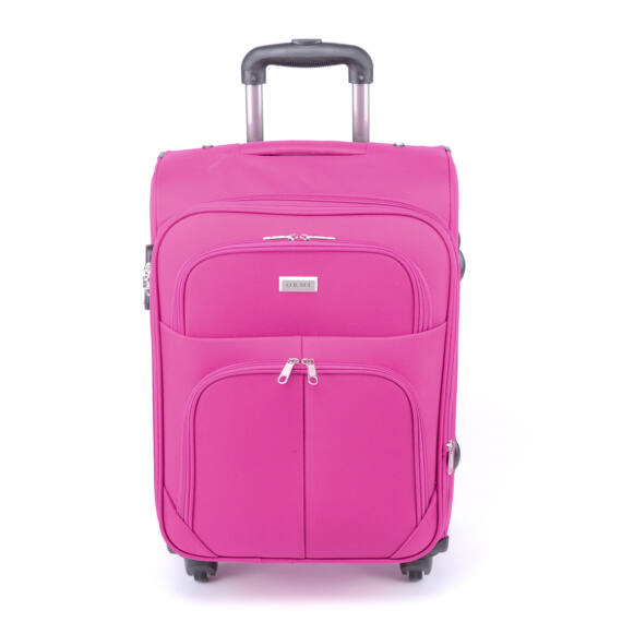 41 Cm × 65 Cm × 24 Cm Közepes Bőrőnd Pink (4 Kerekű)