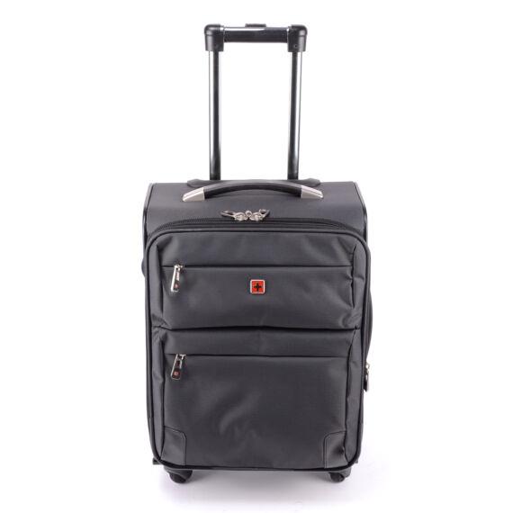 Prémium Swisswin Sötétszürke Közepes Méretű Gurulós Bőrönd(4 Kerekű)