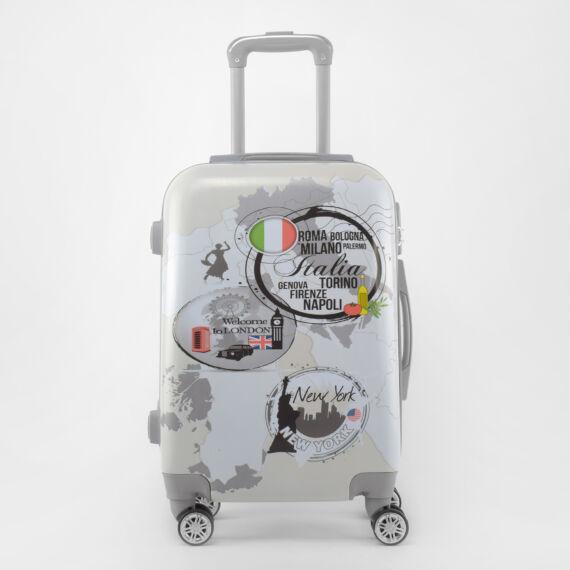 Ormi Szürke Térkép mintás Kemény Közepes Bőrönd