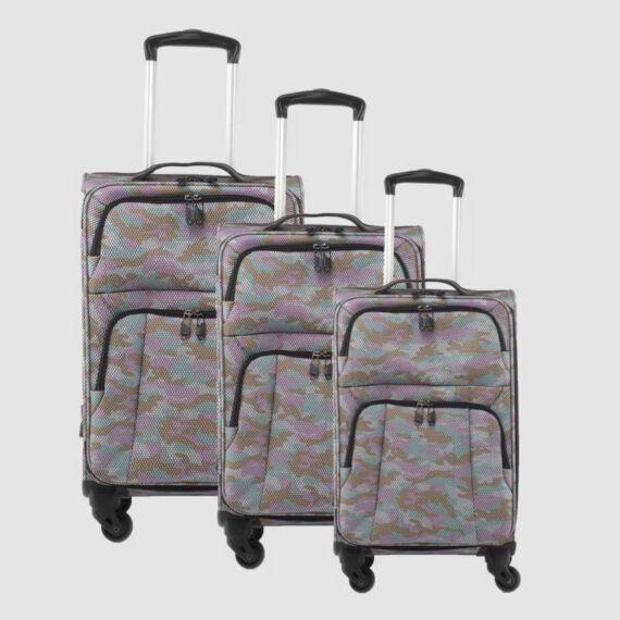 Rózsaszín Terep mintás Négy kerekű Extra könnyű Poliészter Bőrönd Szett