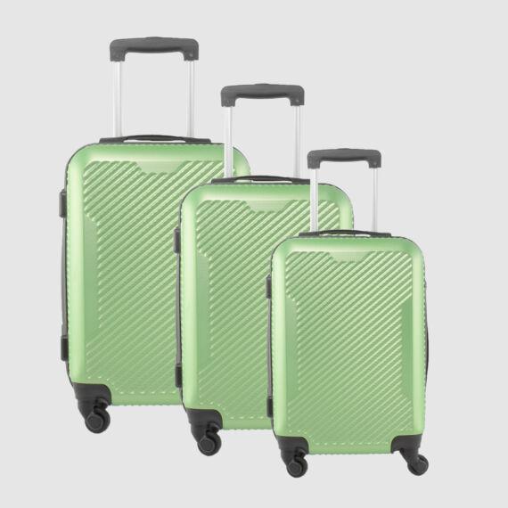 LDV Neonzöld 4 kerekű  Műanyag Kemény Bőrönd Szett