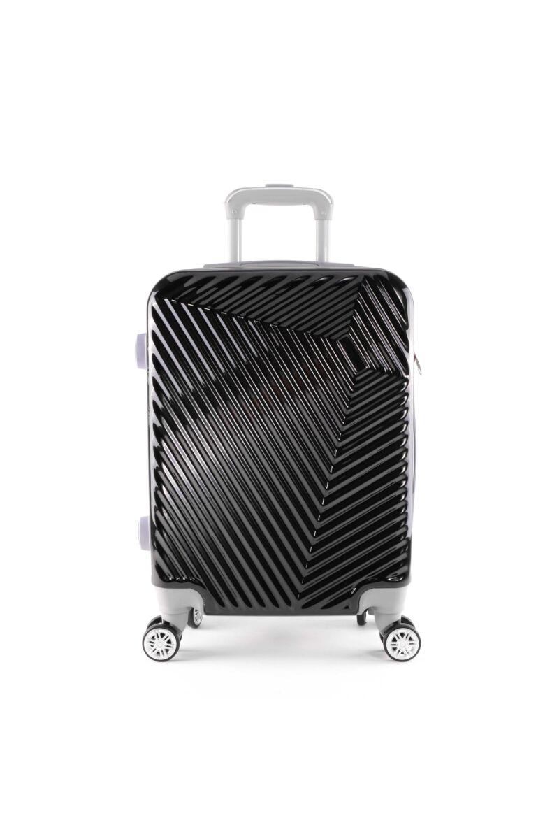 LC-015 fekete közepes méretű PVC bőrönd (69*45*26 cm)