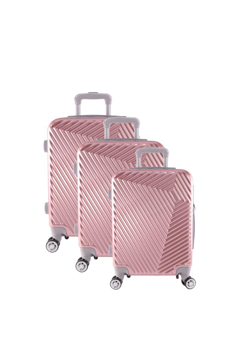 LC-015 rózsaarany PVC bőrönd szett