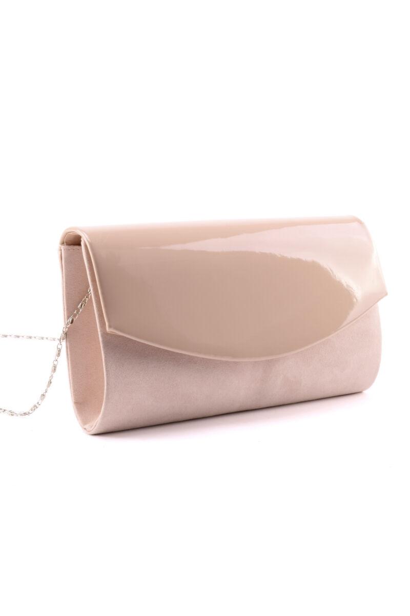 Púder színű női lakk művelúr alkalmi táska