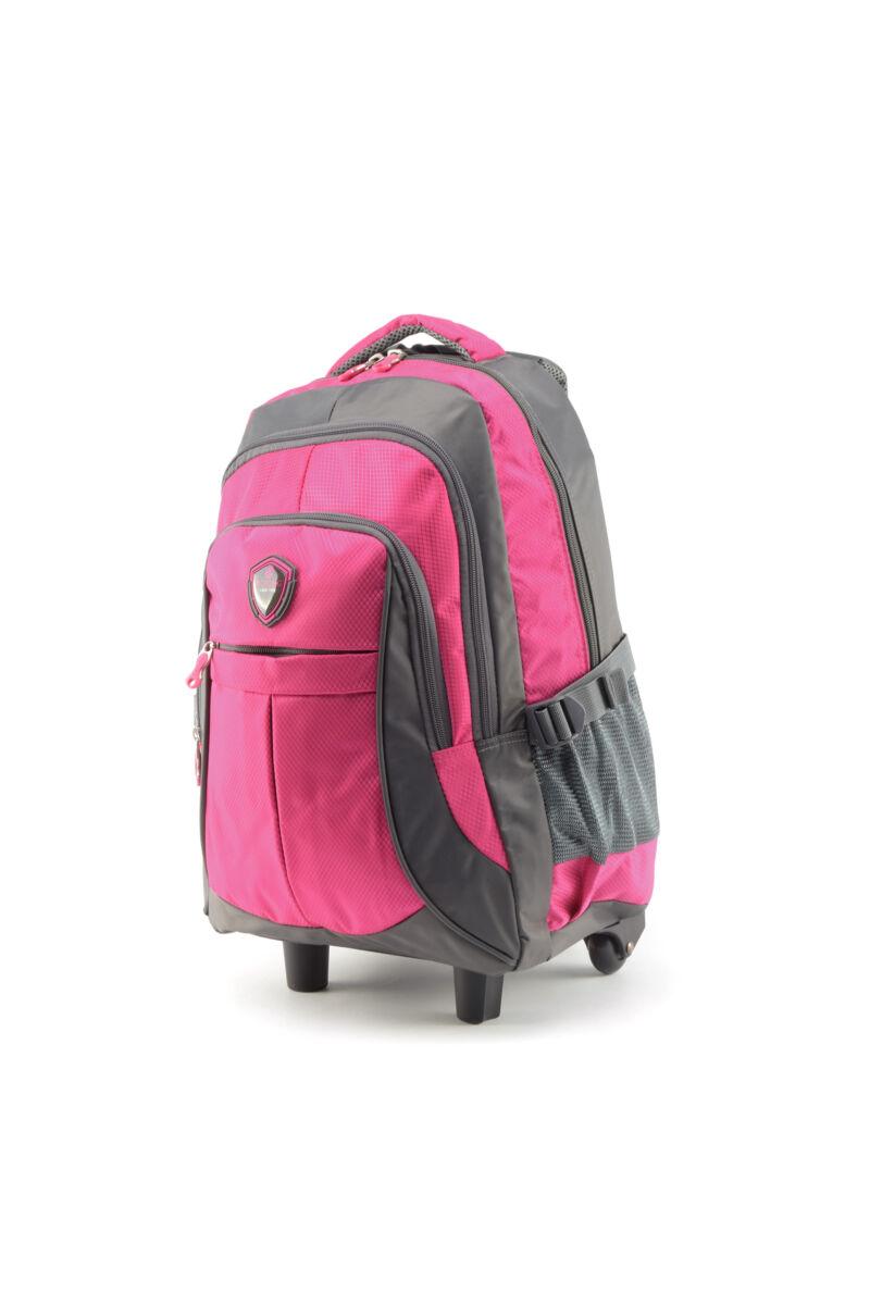 Aoking szürke-pink gurulós poliészter hátizsák