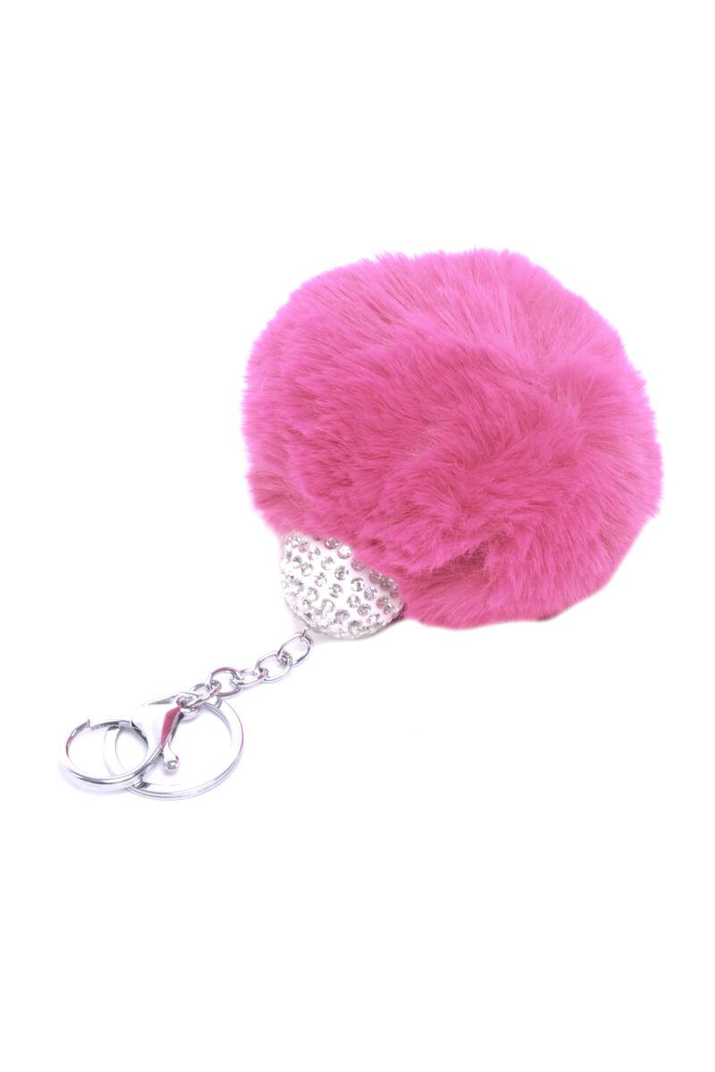 Szőrmés Pink Kulcstartó és Táskadísz