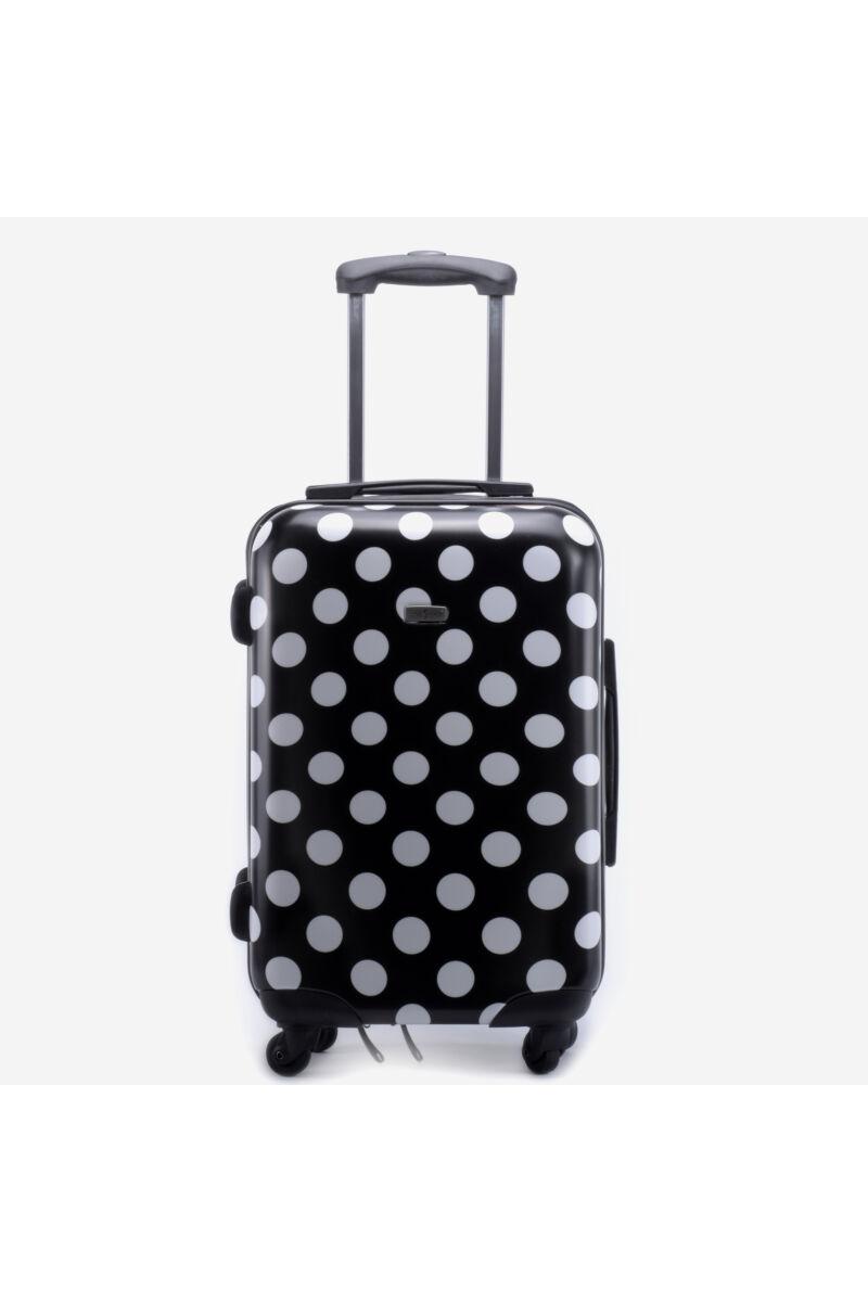 Fekete/fehér pöttyös gurulós Kabinbőrönd