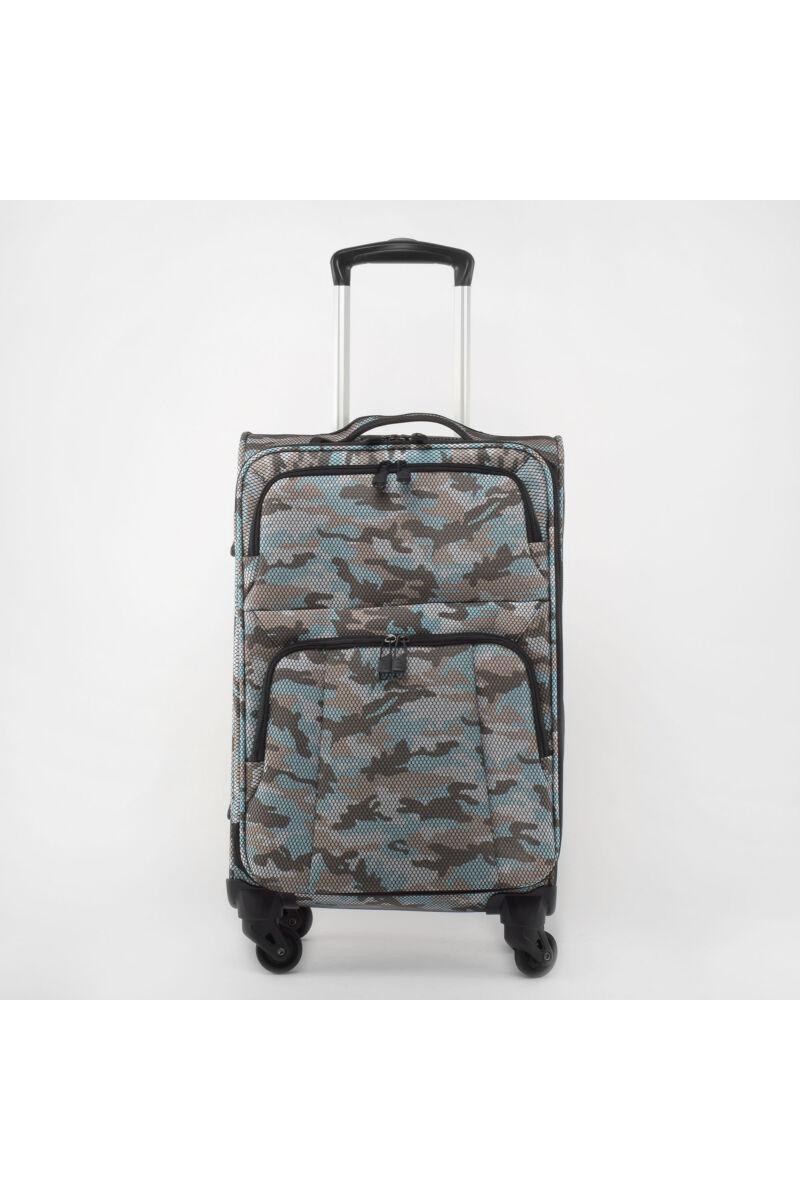 Kék Terep mintás Négy kerekű Extra könnyű Poliészter Közepes méretű Bőrönd