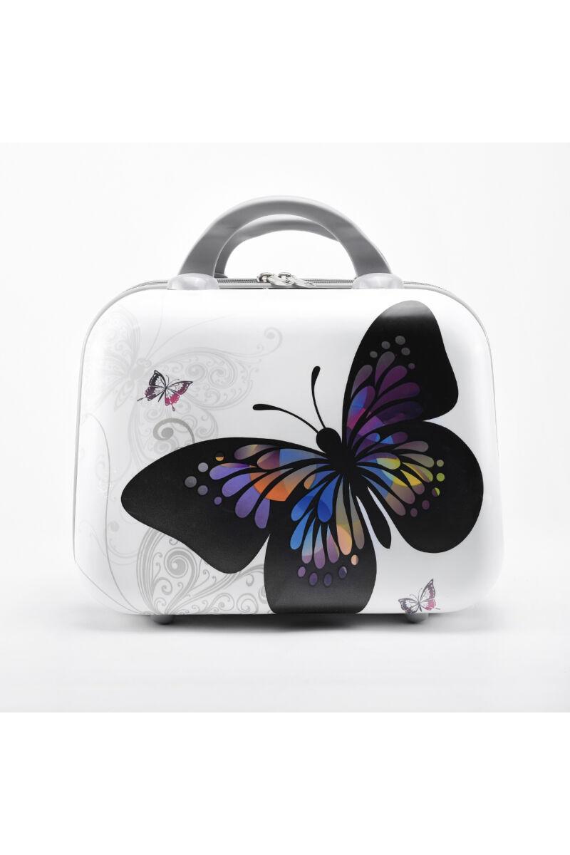 Fehér Pillangó Mintás Bőröndre Akasztható Kisméretű Táska (30 x 14 x 22 cm)