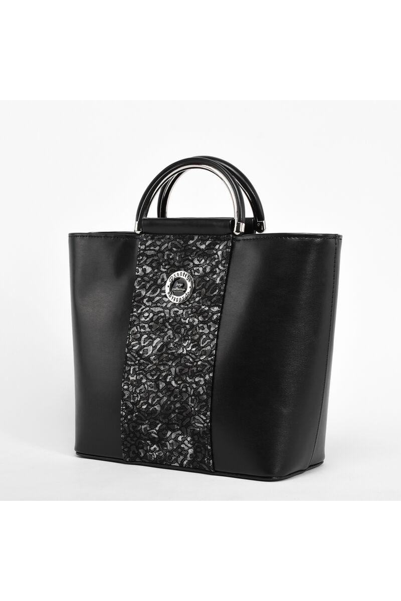 Prestige Női Virágmintás Fekete Rostbőr Kézitáska
