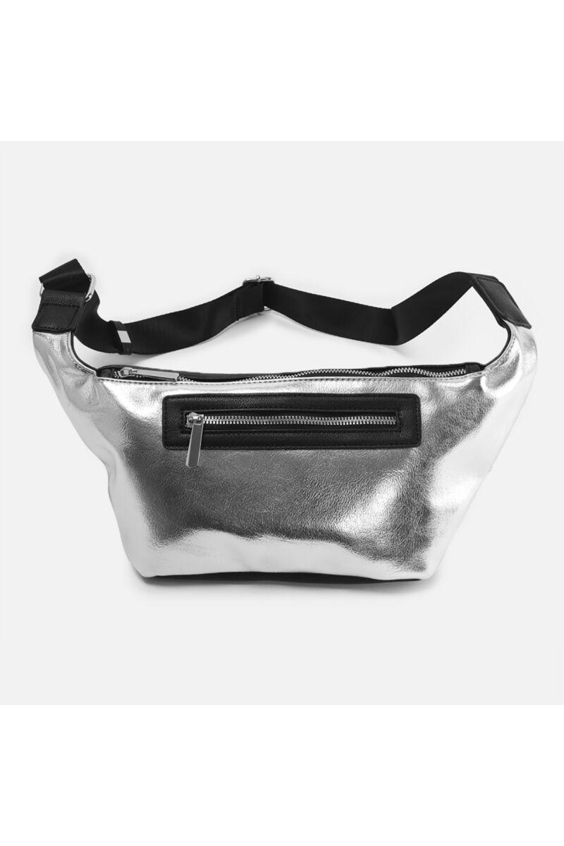 Ezüst praktikus műbőr keresztpántos táska