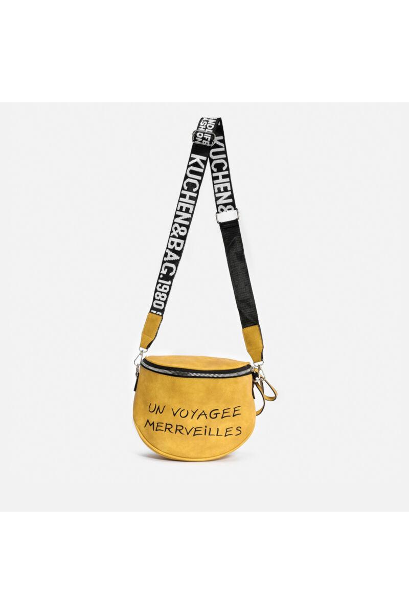 Besty Mustársárga Műbőr Női Keresztpántos táska