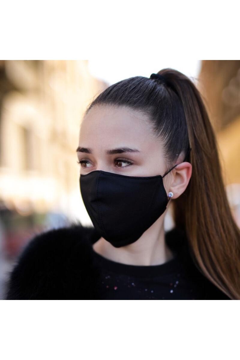 Trendi textil szájmaszk Egyszínű Fekete