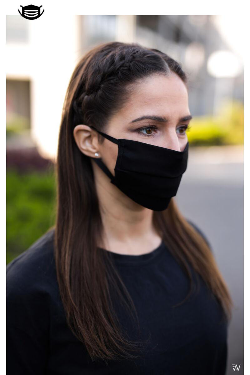Trendi textil szájmaszk - 1db-os szettben - Egyszínű Fekete