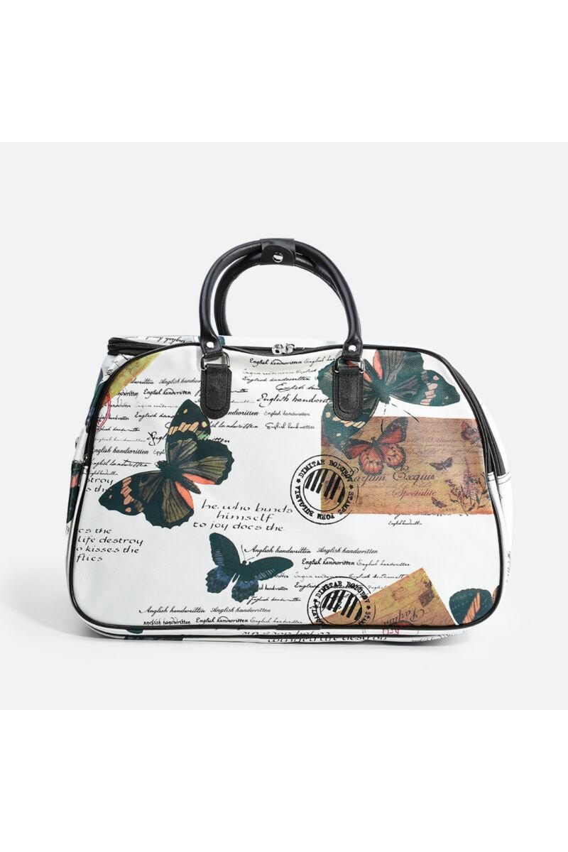 Besty Közepes Méretű Műbőr Pillangó Mintás Utazótáska