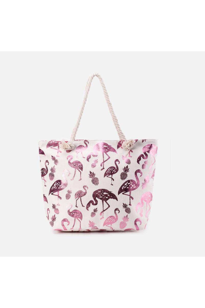 Nagyméretű Rózsaszín Flamingómintás Dekoratív Strandtáska Fonott Pánttal