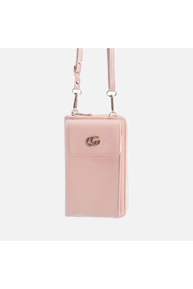Rózsaszín műbőr pénztárca és válltáska egyben