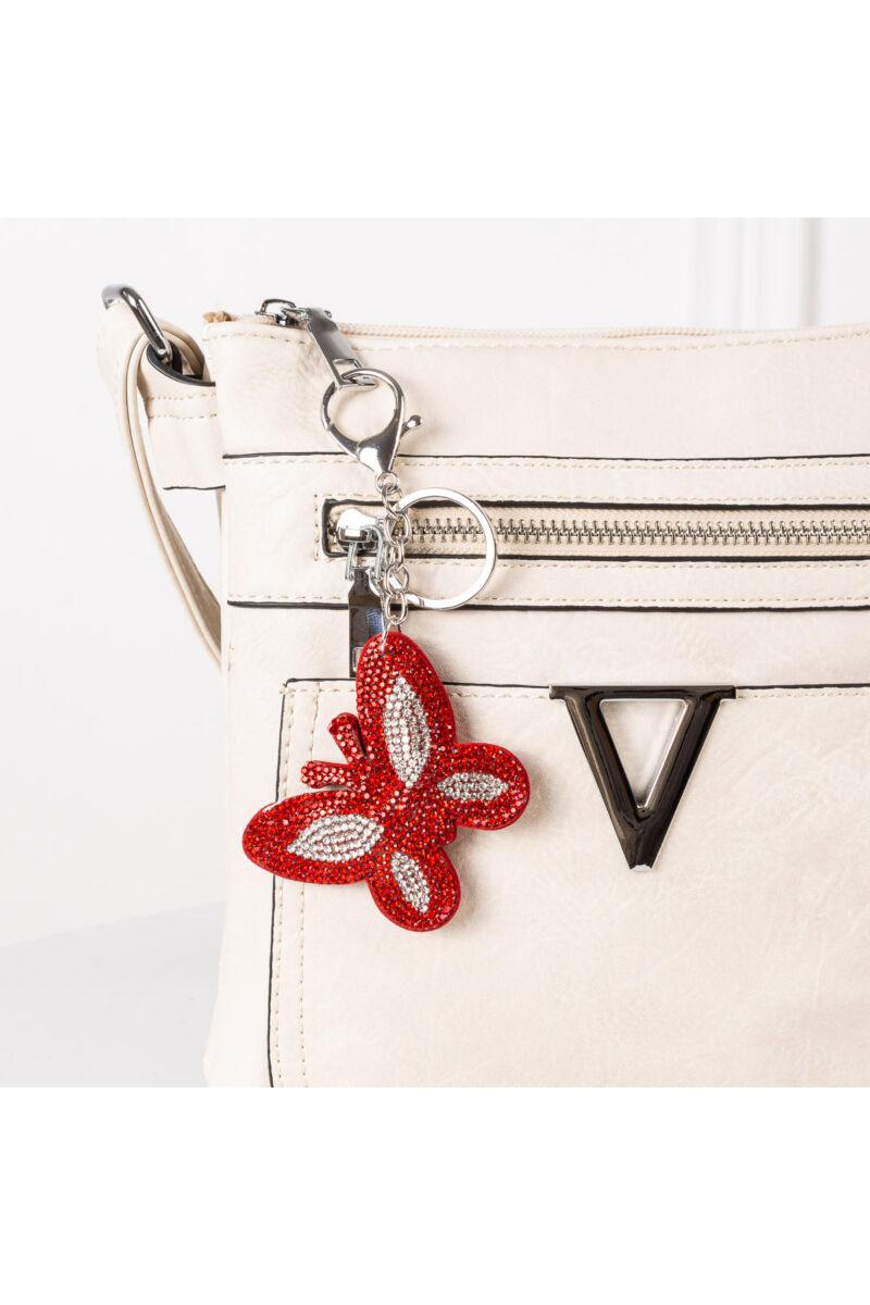 Piros pillangó alakú strasszos kulcstartó és Táskadísz