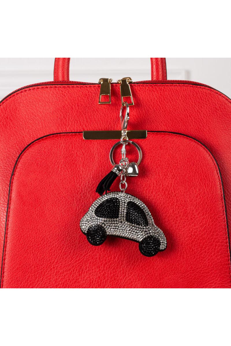 Ezüst színű autó alakú strasszos kulcstartó és Táskadísz