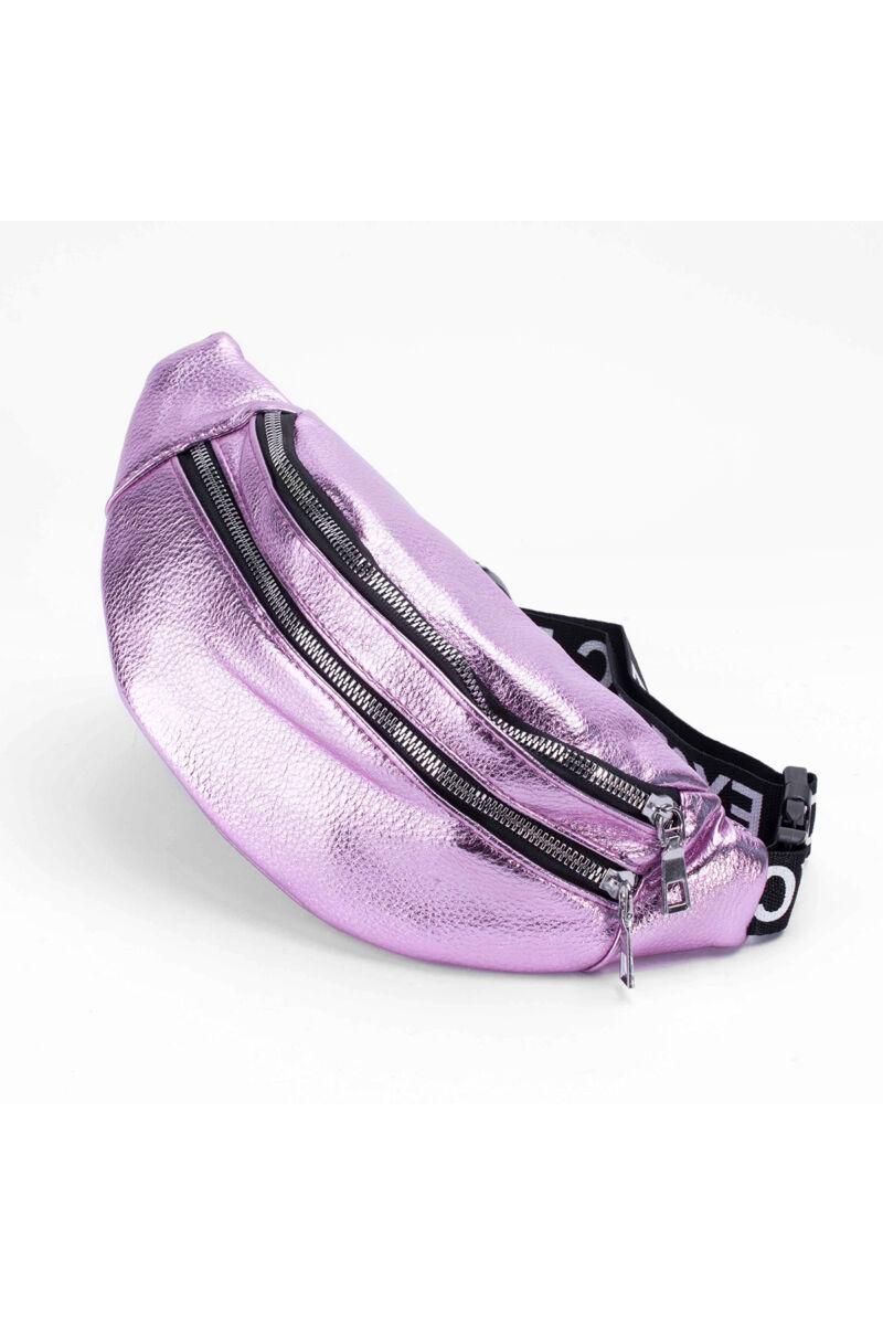 Lila színű feliratos pántos övtáska / keresztpántos táska
