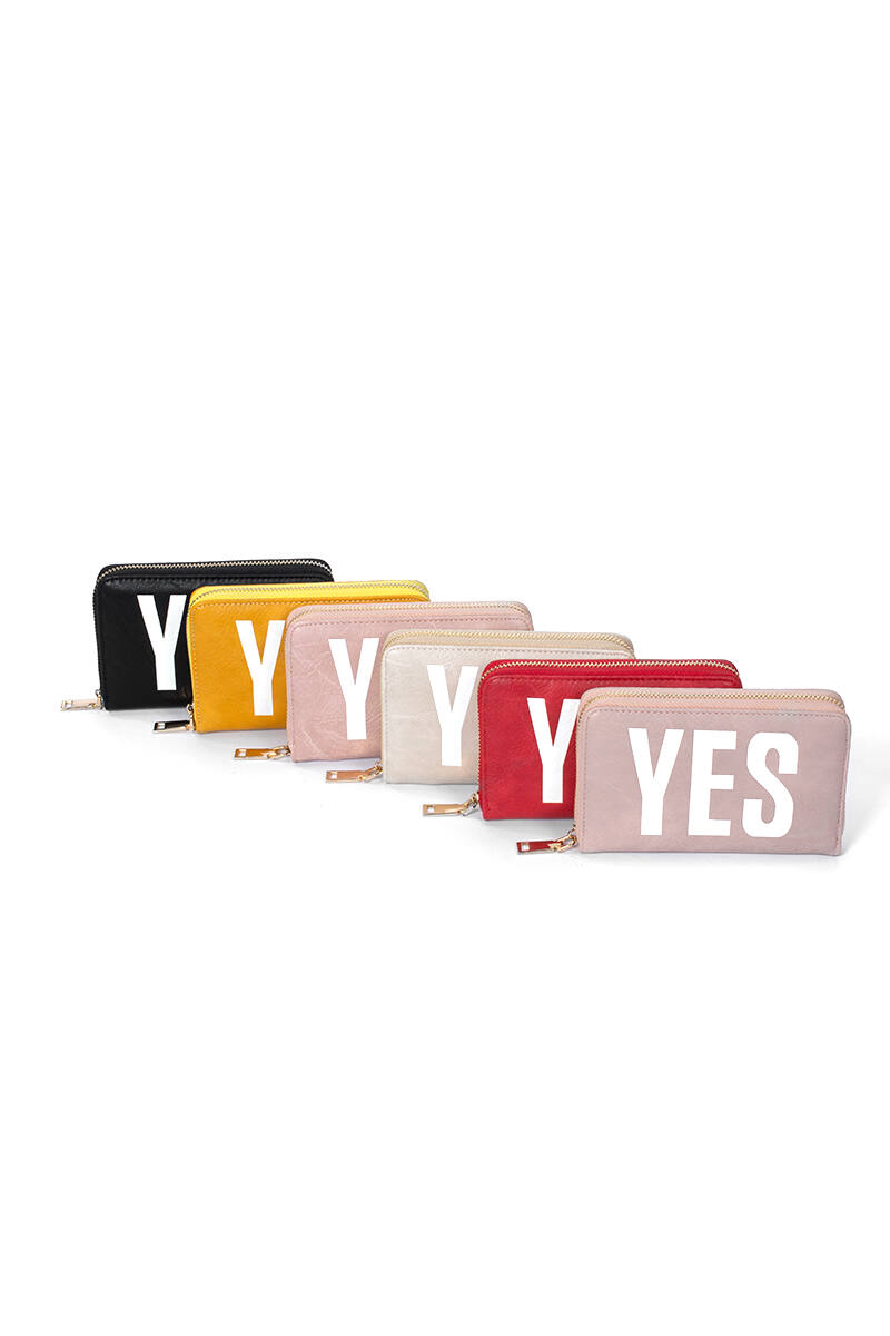 Bézs közepes méretű Yes-No feliratos cipzáras pénztárca