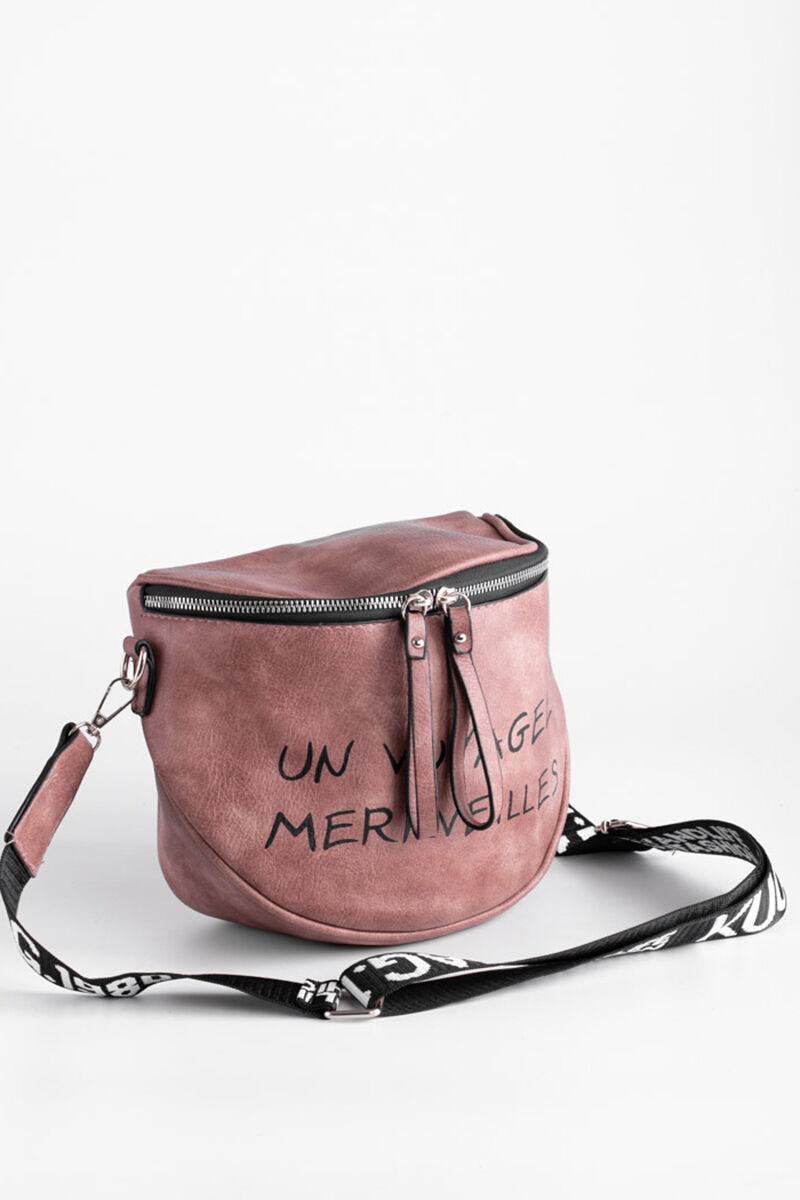 Besty Sötét Rózsaszín Műbőr Női Keresztpántos táska