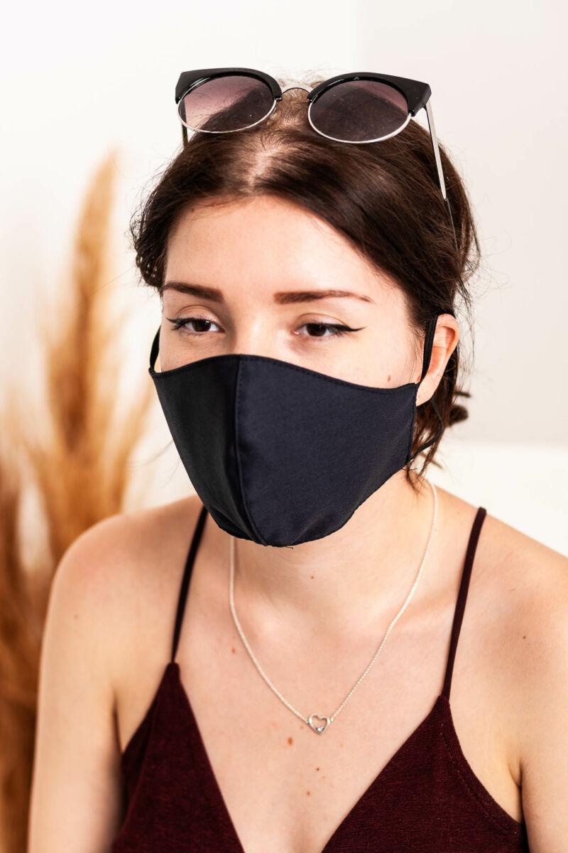 Trendi Textil 2 Rétegű Szájmaszk - 1db-os Szettben - Fekete