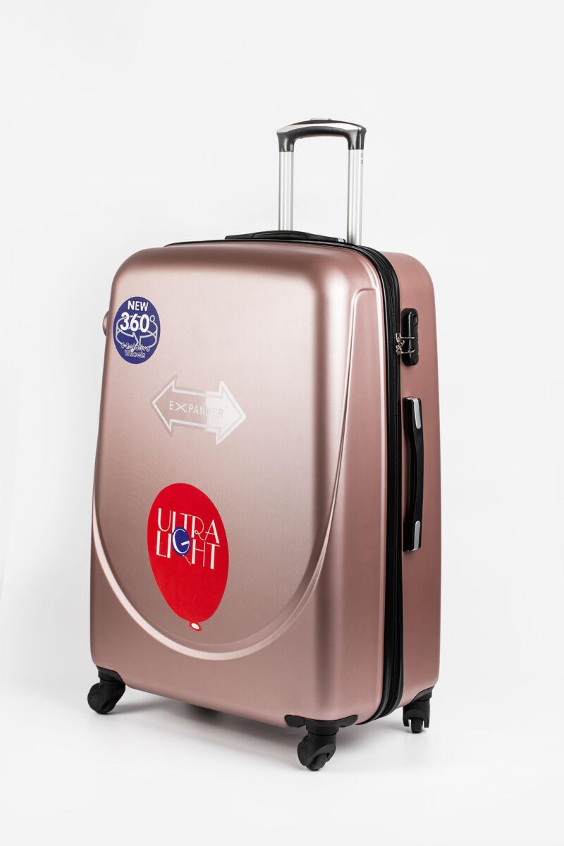 Rózsaarany Kemény Nagy Méretű Bőrönd (4 kerekű) L