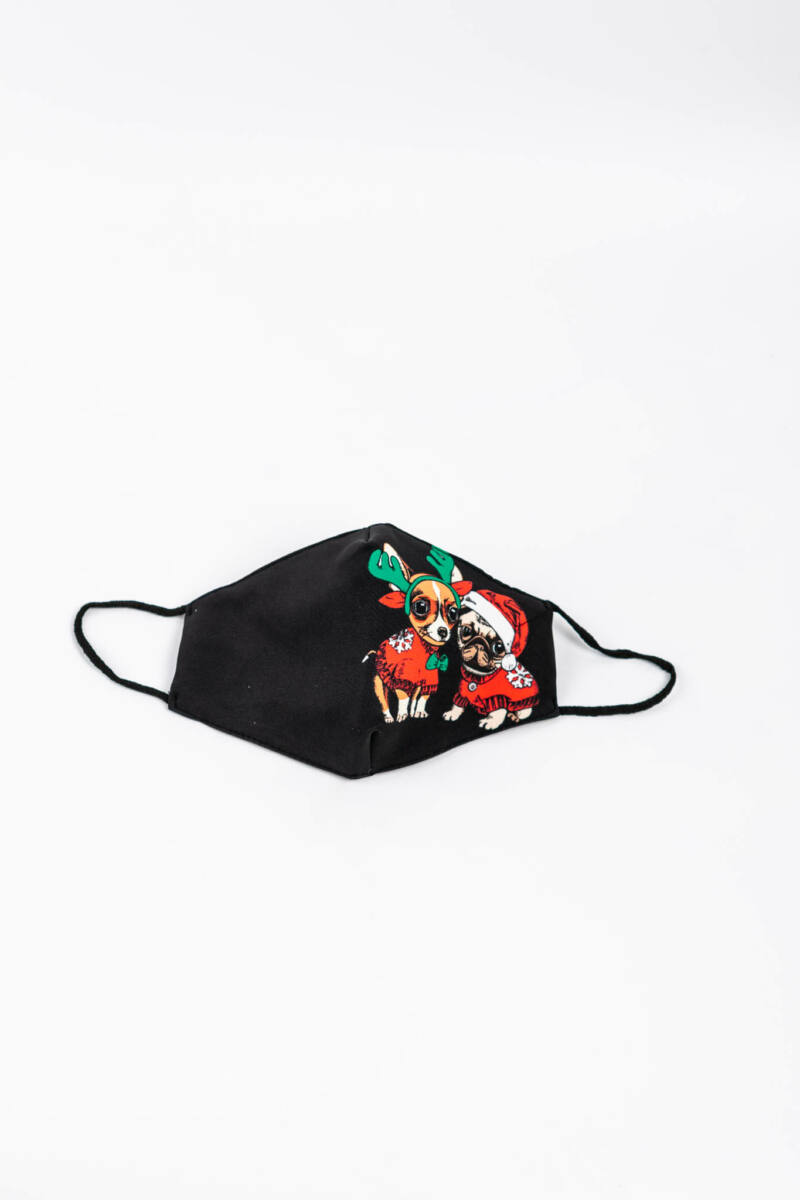 Karácsonyi Kutyás 2 Rétegű Trendi Textil Szájmaszk