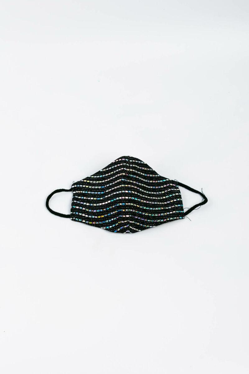 Fekete És Ezüst Színű Csillogó Flitteres 2 Rétegű Trendi Textil Szájmaszk