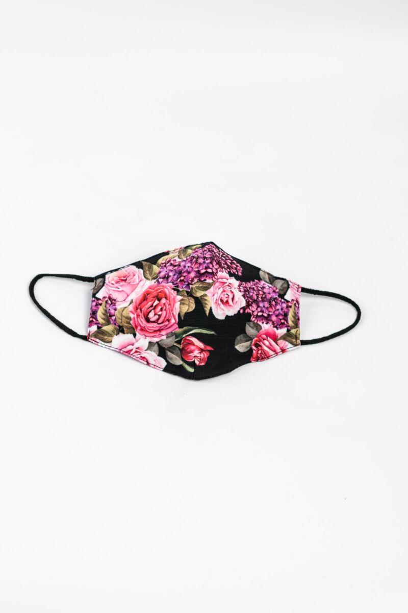 Rózsa Mintás Fekete 2 Rétegű Trendi Textil Szájmaszk