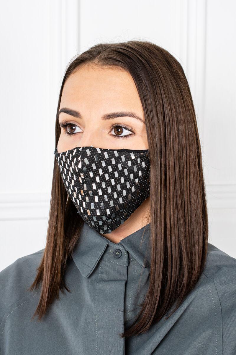 Ezüst Flitteres 2 Rétegű Trendi Textil Szájmaszk