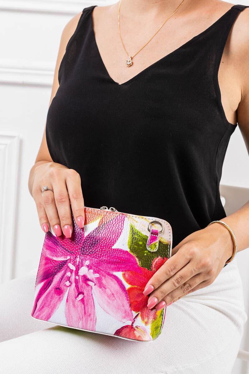 Virágos Vera Pelle Valódi bőr mini női oldaltáska