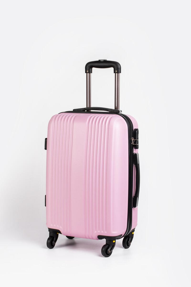 Világos Rózsazsín Kemény Nagy Méretű Bőrönd (4 Kerekű) L