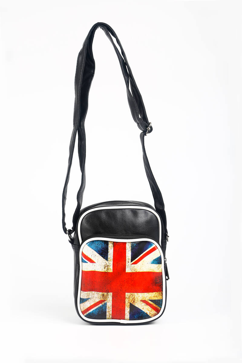 R&J Brit Zászlós Fekete/Fehér Műbőr Női Oldaltáska