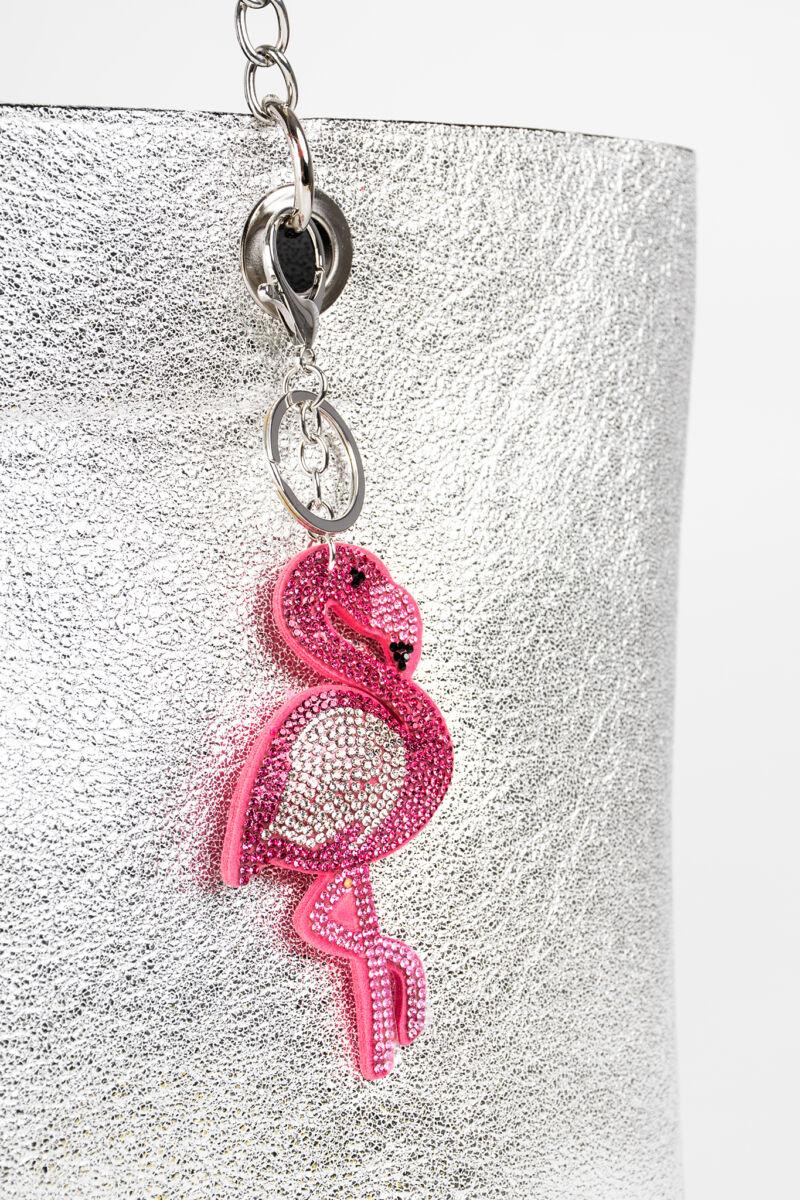 Rózsaszín Strasszköves Flamingó Kulcstartó és Táskadísz