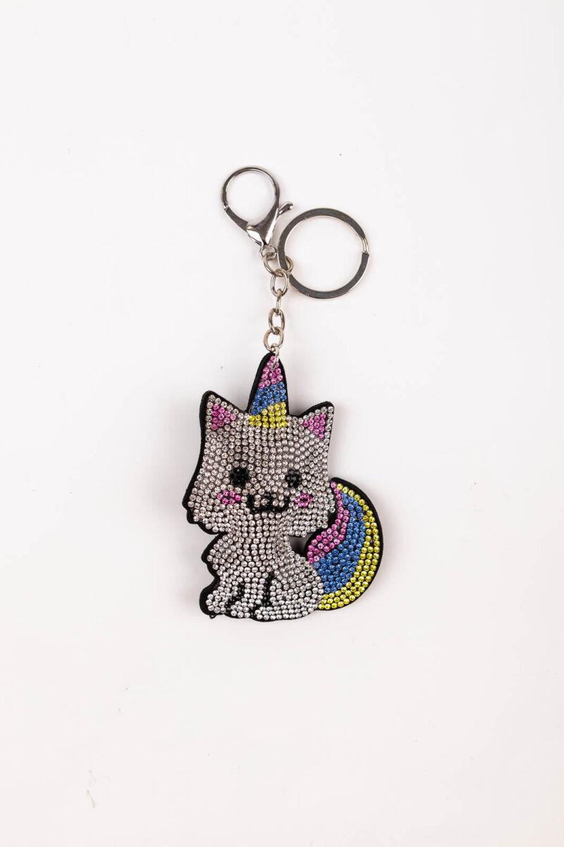 Sárga-Kék-Rózsaszín színű macska alakú strasszos kulcstartó és Táskadísz