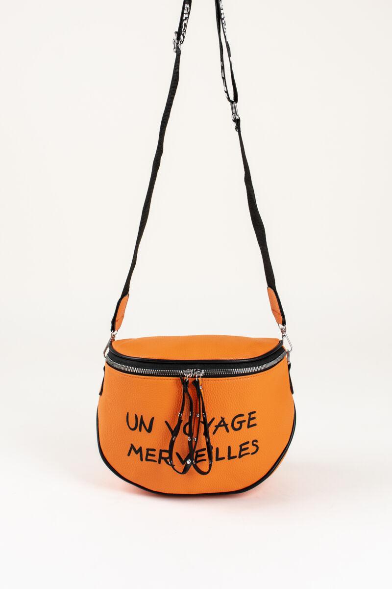 R&J Narancssárga Női Műbőr Keresztpántos Táska Francia Felirattal