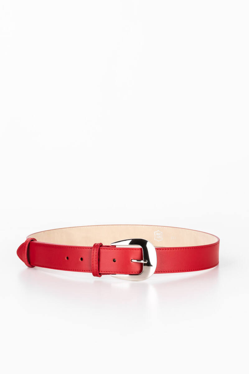 Prestige Piros Színű Valódi Bőr Öv, 105 cm
