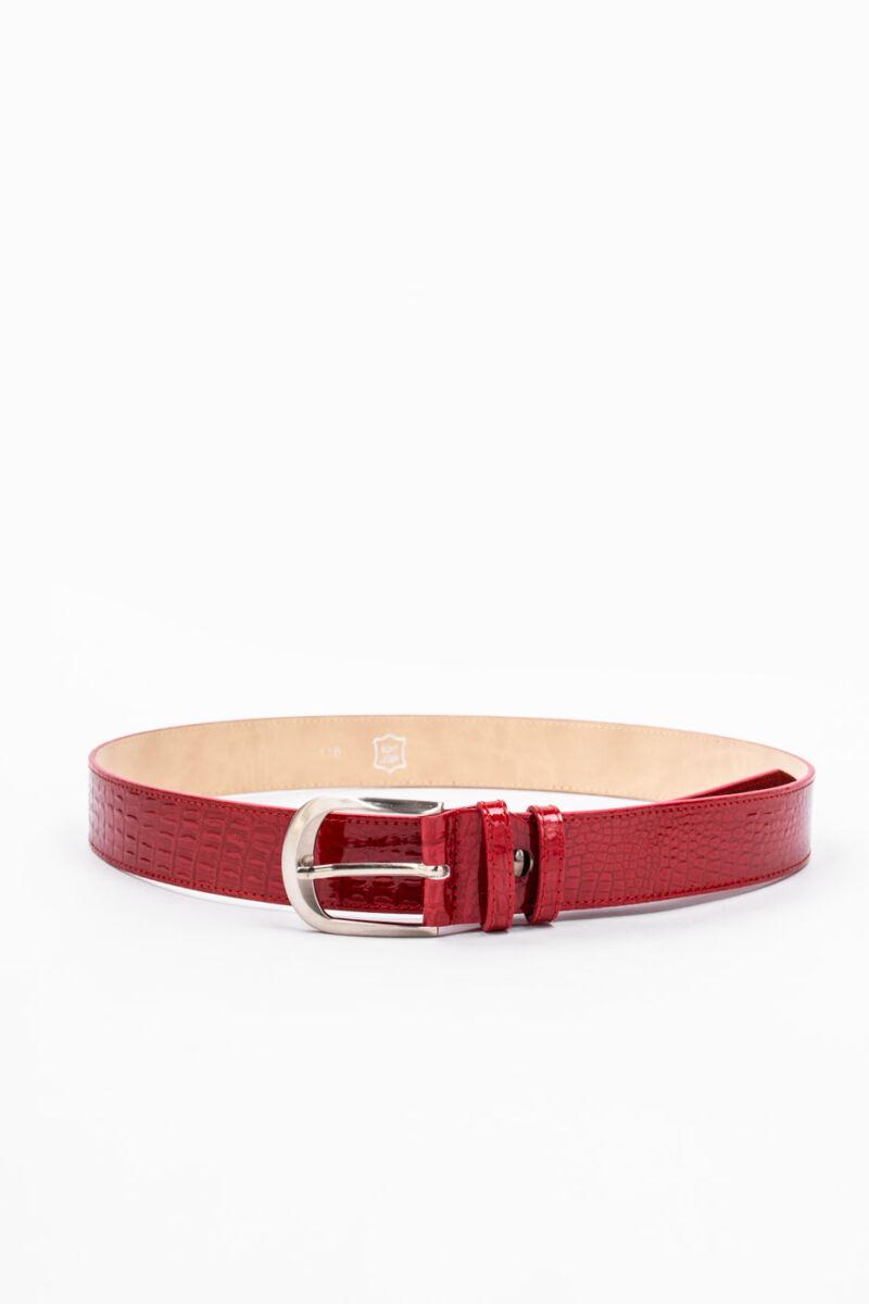 Prestige Piros Kígyómintás Lakk Valódi Bőr Öv, 100 cm