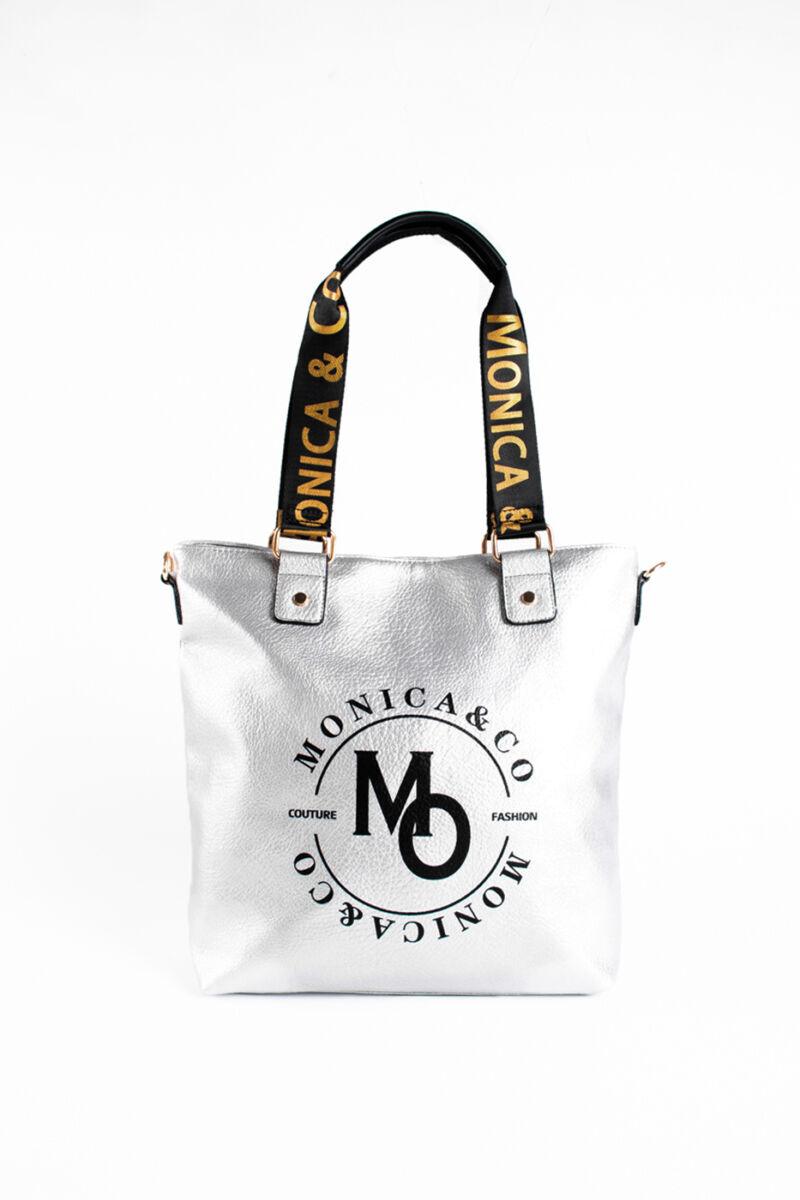 Monica & Co. Ezüst Színű Műbőr Női Váll És Kézitáska Feliratos Díszítéssel